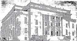 The exterior of Kingsbury Hall before it opened in May 1930.