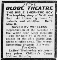Perhaps the first advertisement for the Globe Theatre in the Ogden Standard Examiner. - , Utah