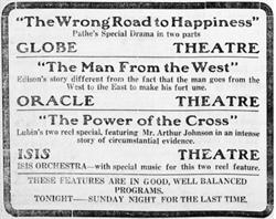 Advertisement for the Globe, Oracle, and Isis theaters. - , Utah