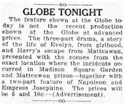 An advertisement for the Globe Theatre on its last day of operation as a movie theater. - , Utah