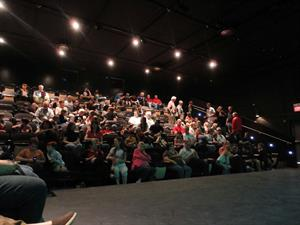 The audience for <em>Flash Gordon</em> on opening night, from the side seating section looking back toward the control booth. - , Utah