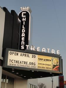 The triangular marquee and vertical blade sign of the remodelled Childrens Theatre. - , Utah