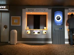 The box office window in the lobby, with the concessions window to the right. - , Utah