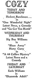 Advertisement for the Cozy Theatre in 1923. - , Utah