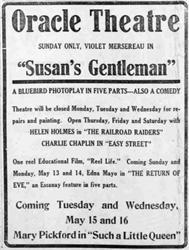 Last advertisement for the Oracle Theatre, showing Violet Mesereau in 'Susan's Gentleman.' - , Utah