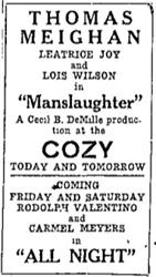 Last ad for the Cozy before S. B. Steck sold the theater to the Ogden Theatre company. The new owners did not seem to advertise in the newspaper. - , Utah