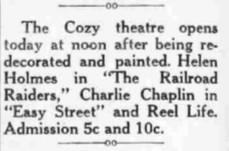 """A text ad for the Cozy. After being purchased by S. B. Steck, the theater was """"redecorated and painted."""" - , Utah"""