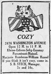 Advertisement for the Cozy in 1917, with S. B. Steck as Manager.  'If you think it isn't cozy, come in.' - , Utah