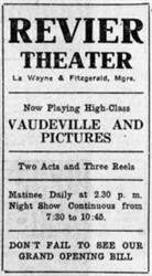 Advertisement for the Revier Theater, with La Wayne and Fitzgerald as managers. - , Utah