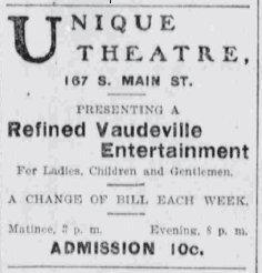 Newspaper ad for the Unique Theatre in 1903 - , Utah