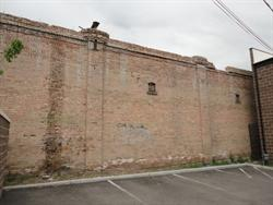 The north exterior wall of the theater.