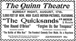 A newspaper advertisement for the Quinn Theatre in 1913. - , Utah