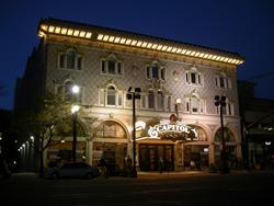 Facade of the Capitol Theatre at night, from across the street. - , Utah