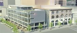 An architectural rendering of the Jessie Eccles Quinney Center for Dance, next to the Capitol Theatre.