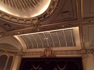 The ceiling in front of the stage, including a portion of the chandelier circle. - , Utah