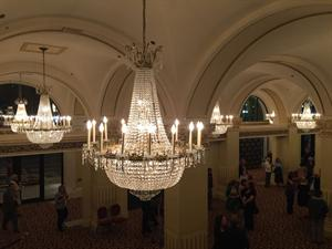 A view of the lobby chandeliers from the mezzanine. - , Utah