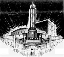 This drawing of the Centre Theatre and its 'beautiful new specialty stores' appeared in an opening day ad. - , Utah