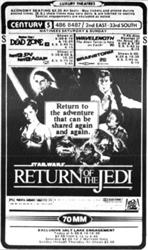 'Return of the Jedi' in an 'exclusive Salt Lake engagement,' at the Century.