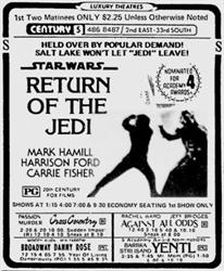 'Return of the Jedi', 'Held over by popular demand!  Salt Lake won't let 'Jedi' leave!' - , Utah