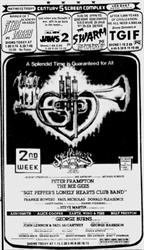 2nd Week ad for 'Sgt. Pepper's Lonely Hearts Club Band' at the Century 5 Screen Complex.