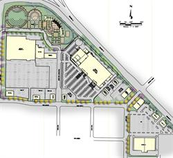 The site plan for the North Park development show the park itself in the top left, with Costco directly south. Home Depot occupies middle. The building pictured in the lower right might be the Cinemark location.