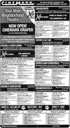 A newspaper advertisement for Cinemark, featuring the opening of the Cinemark Draper. - , Utah