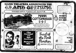 "Opening day ad for the Creekside Cinemas.  ""Mann Theatres announces the Grand Opening.  Doors open today at 12:15 PM."""