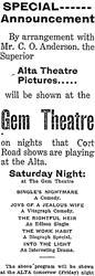 Advertisement for the Gem and Alta theatres in Brigham City, Utah - , Utah