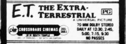 'E. T.: The Extra-Terrestrial' in 70mm Dolby Stereo at the Crossroads Cinemas.