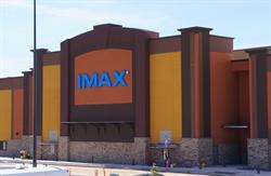 The blue IMAX logo, on the east exterior wall. - , Utah