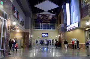 Looking toward the main exterior entrance.  A Megaplex marquee hangs over auditorium point of entry. - , Utah