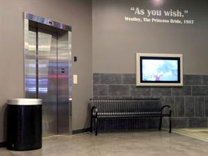 A quote from The Princess Bride adorns the wall next to an elevator, on the north end of the inner lobby. - , Utah