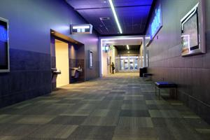 A cross hall, with entrances at either end for the IMAX auditorium. - , Utah