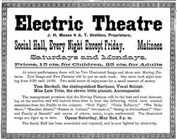 Newspaper advertisement for the Electric Theatre in the remodeled Social Hall. - , Utah