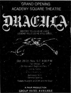 "A ""Grand Opening"" advertisement for <em>Dracula </em>at the Academy Square Theatre in 1981.  The address is 550 North 100 East. - , Utah"