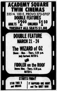 "On 22 March 1983, the theater dropped the slogan, ""The finest in classic movies,"" and started advertising its name as Academy Square Twin Cinemas. - , Utah"