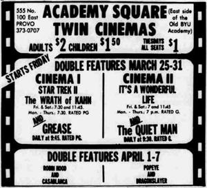 Starting 25 March 1983, Academy Square showed movies in Cinema I and Cinema II. Movies played uninterrupted prior to the opening of the second screen, meaning an additional auditorium was brought into use. - , Utah