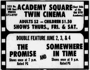 The last known ad as the Academy Square Twin Cinema published 3 June 1983, but with only one double feature listed. The other auditorium likely began showing live performances as the Academy Square Theatre. - , Utah