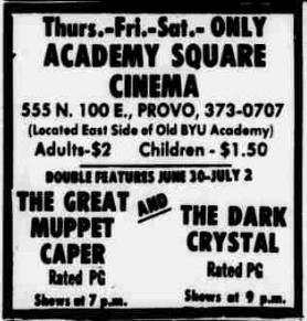 The name returned to Academy Square Cinema by 30 June 1983, with the theater open only Thursday, Friday, and Saturday. - , Utah