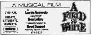 The last known adversisement for the Academy Square Cinema in the Daily Herald, A Field so White on 5 November 1984. - , Utah