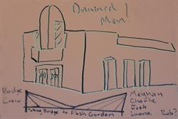 "A drawing of the new Children's Theatre with the caption, ""Taking Bridge to Flash Gordon."""