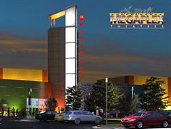 A rendering of the exterior of the Megaplex 14 at Legacy Crossing.