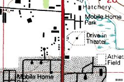 This location of the Art City Drive-In is shown on this 1990 geological survey map. - , Utah