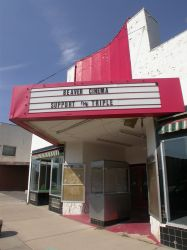 'Support the Triple', probably referring to local troops serving in Iraq, on the attraction board of the Beaver Cinema. - , Utah