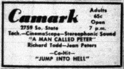 'A Man Called Peter' and 'Jump Into Hell' in CinemaScope and Stereophonic Sound at the Camark. - , Utah