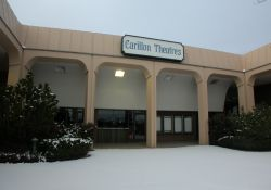 The entrance of the Carillon Square Theater is at the end of a plaza area in the Carillon Square shopping center.