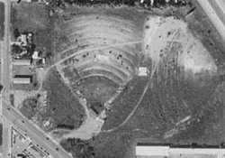 An aerial view of the Davis Drive-In in 1997.  The theater was located on the other side of I-15 from the Layton Hills mall.  The theater was demolished to make way for new development. - , Utah