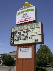 North side of the sign for the Plaza Twin Theatres.  Current features showing at the theater are Star Wars - Episode 3 and Madagascar. - , Utah