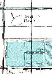 The Desert Drive-In on a 1992 geological survey map.  The theater was located at the intersection of two dirt roads on the outskirts of Delta, just north of a sewage treatment plant. - , Utah