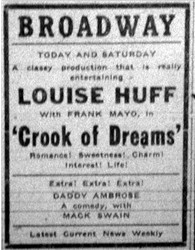 Ad for 'Crook of Dreams' at the Broadway.